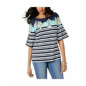 CHARTER CLUB BLOUSE COMBO  NAVY BLUE STRIPED-TOP